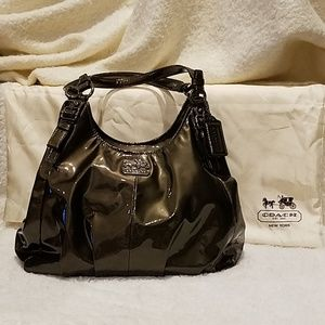 Coach Maggie 18760 Madison Pewter Patent Leather